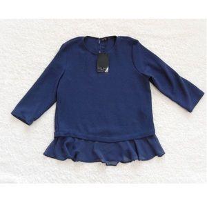 New Zara Navy peplum blouse
